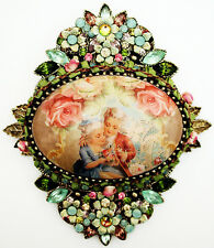 Michal Negrin Antique Baroque Style Love Roses Cameo Crystals Flowers Brooch Pin