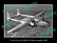 OLD LARGE HISTORIC PHOTO OF USA AIR FORCE, FAIRCHILD PACKET AEROPLANE 1948