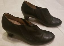 Kumfs Women's Black Leather Ankle Boots Heeled Slip On Shoes Size EUR 40.5 (NEW)