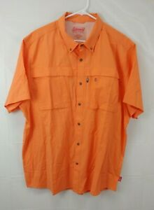 Coleman Mens Shirt XXL Orange Short Sleeve Hiking Vented Camping Button Front