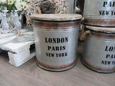 Retro Aufbewahrungstonne aus Metall mit Holzdeckel, Vintage, ca. 37 cm hoch
