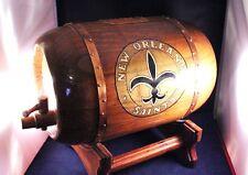 "Amazing Vtg Handcrafted Huge 13"" Wood Barrel Fleur de Lis Bank NewOrleans Saints"