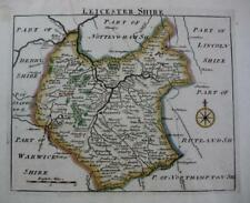 LEICESTERSHIRE  LEICESTER    BY JOHN ROCQUE GENUINE ANTIQUE MAP  c1753