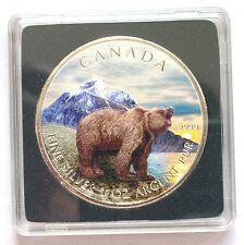 Canada 2011 Grizzly Bear 5 Dollars 1oz Colour Silver Coin,UNC
