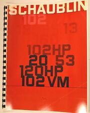 Schaublin 102,13,102HP,20,53,120HP,102VM Lathe & Milling Machine Sales Brochure