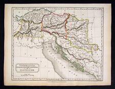 1844 Hall Map Vindelicia Illyricum Noricum Rhaetia Dalmatia Austria Switzerland