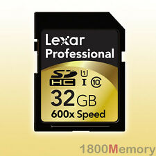 GENUINE Lexar 32GB Professional 600X SDHC UHS-I SD Memory Card 90MB/s Video HD