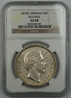 1874-D Germany Silver 5 Mark 5M Bavaria NGC AU-58 Beautiful German Coin