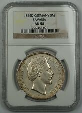 1874-D Germany Silver 5 Mark 5M Bavaria NGC AU-58 Beautiful German Coin