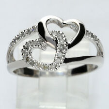 Diamond open double heart ring white gold interlocking round .18C sz8 sweet 3.1g