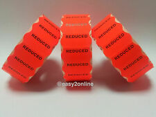 15,000 'Reduced' Fluorescent Red Permanent  26mm x 12mm CT4 Price Gun Labels