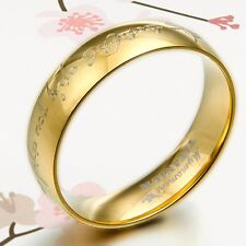Lord of The Rings D-Sharped Dome Gold Wedding Bands Titanium Rings 6m SzL to Z7