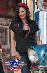 Stars&Stripes Western Bluse Cowgirl Shirt Rockabilly Oberteil Lily schwarz S-2XL