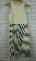 Forever New Dress Sz 8 White, black, cream stripes Sleeveless