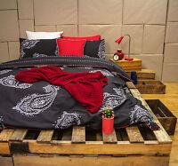 Paize Charcoal 250TC Cotton Percale Quilt Cover Set - SINGLE DOUBLE QUEEN KING