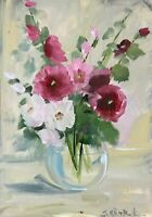 Print of Original oil painting art Vase daisies floral Impressionism shabby chic