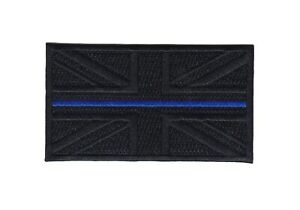 Thin Blue Line Union Jack Embroidered Black Patch-hook & Loop Backing Police UK