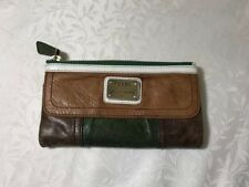 FOSSIL LEATHER WALLET CLUTCH EMORY ZIPPER MULTI-COLOR LONG LIVE VINTAGE 1954