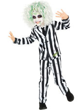 Childs Beetlejuice Costume Boys Kids 80s Movie Halloween Fancy Dress Outfit