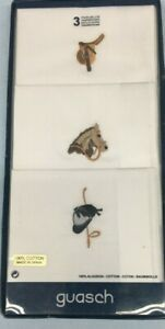 Men's Equestrian Handkerchief, Box of Three, Made in Spain, Soft Cotton