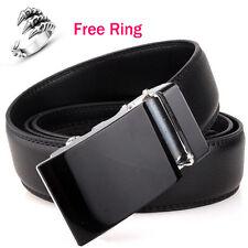 Men's Solid Black Automatic Buckle Genuine Leather Waist Strap Belt Waistband