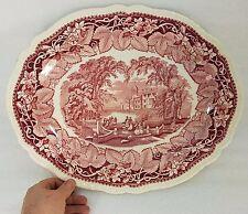 """HUGE Vintage Mason's England VISTA Pink/Red Ironstone Oval Platter 17 1/2"""""""