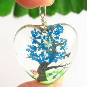 D71978 Delicate Crystal Glass Blue Dried Flower Heart Pendant Bead 33x24x13mm