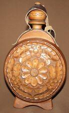 Vintage folk floral hand carving wood pitcher wine brandy flask