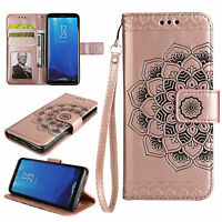 Strap Flip Wallet Wristlet Stand Leather Case Cover Mandala Flower For Samsung S