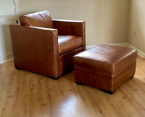 Exceptional Mitchell Gold & Bob Williams Leather Club Chair & Ottoman - Ex Cond.