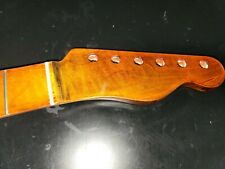 Flame Maple Roasted Finish Custom Shop Abalone Guitar Neck For Fender Tele #38