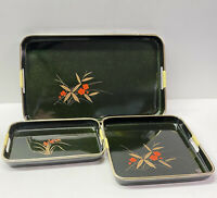 Japanese 3 pc Nested Lacquer Ware Tray Set, Shikki Ware, Emerald Green