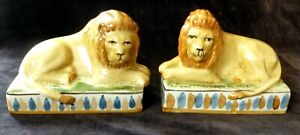 STAFFORDSHIRE POTTERY LIONS Pair of hand painted lion figurines VINTAGE