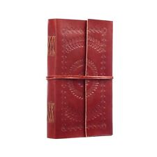 Embossed Leather Journal, 125 Unlined Recycled Paper Pages Blank Notebook Diary