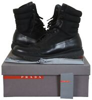 Prada Mens Black Combat Leather Nylon High Top Ankle Lace Up Hiking Boots Size 9