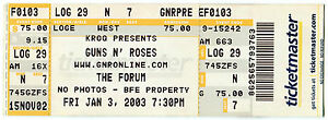 GUNS N ROSES 1/3/2003 Concert Ticket!! The Forum CA UNUSED stub