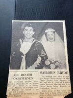 69-3 Ephemera 1958 Article Wedding Gladys Fray Margate Ralph Reddish Chesterf