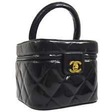 CHANEL Quilted CC Cosmetic Hand Bag Make Up Black Patent Leather AK36786d