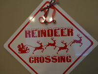 Reindeer Crossing  ALUMINUM STREET SIGN Free shipping Christmas Decor