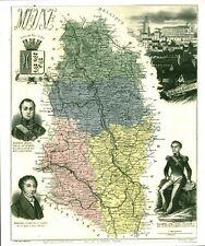 Réédition de gravure ancienne carte région département français Meuse