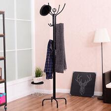"78"" Metal Coat Rack Free Standing Tree Hat Umbrella Holder Hanger Hooks Black"