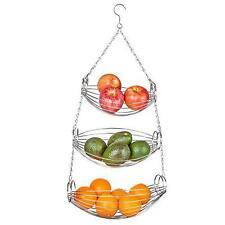 Home Intuition 3-Tier Hanging Basket Heavy Duty Wire, Oval (Chrome) New
