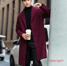 Korean Men Wool Blend Peacoat Slim Fit Trench Long Coat Outwear 3 button Jacket