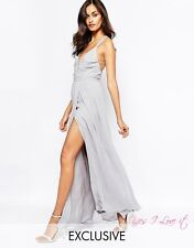 FAME AND PARTNERS DECO SIREN WRAP FRONT CAMI STRAP MAXI DRESS UK14 RRP£95