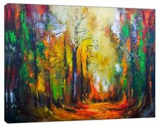 Trees colourful Abstract oil paint Reprint On Framed Canvas Wall Art Decor