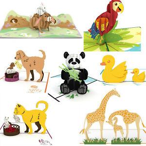 3D Pop Up Card Animal Pack-Lot of 7 Bunny, Cat, Dog, Duck, Giraffe, Bear, Parrot