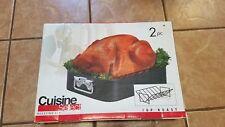 Cuisine Select Steel Turkey Roasting Top Roast Pan and Rack 2 Piece Set New
