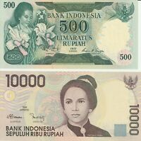 Group Lot 2 Vintage Choice UNC Banknotes Indonesia 1977 1998 500 10000 Rupiah