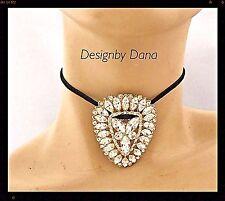 Vintage-Re-purposed-Rhinestone Brooch-Suede-Wrap-Choker-Necklace