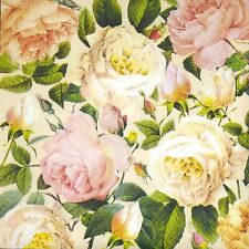 3 x Single SMALL Paper Napkins For Decoupage Craft Pastel Flowers Pattern S195